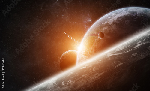 Fototapety, obrazy : Sunrise over planet Earth in space