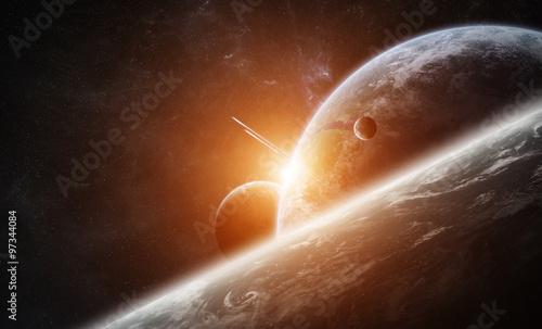 Zdjęcia na płótnie, fototapety na wymiar, obrazy na ścianę : Sunrise over planet Earth in space