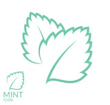Mint. Icon set. Isolated leaves on white background - 97345068