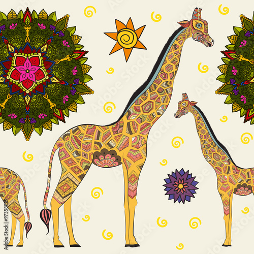 Fototapeta Beautiful adult Giraffe. Hand drawn Illustration of ornamental giraffe. isolated giraffe on white background. Seamless pattern from an ornamental giraffe