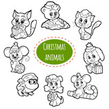 Vector colorless set of Christmas cute animals, cartoon collecti