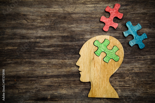 man head silhouette with jigsaw Poster