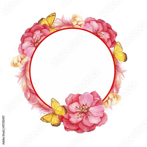 Акварельный круг из цветов