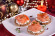 Holiday appetizer canapes salmon