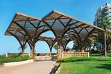 Wooden pergolas on the promenade