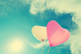 vintage heart balloon on blue sky concept of love in summer and valentine, wedding honeymoon - 97413692