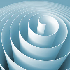 Blue 3d spiral, square abstract digital illustration
