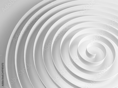 White 3d spiral with soft gray shadow, abstract shape