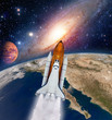 Shuttle rocket ship launch milky way galaxy mars planet moon space. Elements of this image furnished by NASA.
