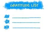 Gratitude list written on blank list