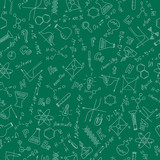 Seamless pattern with formulas,graphs, and equipment as the theme of chemistry in white on a green background
