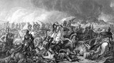 An engraved vintage illustration image of the Duke of Wellington with his army at the Battle of Waterloo, from a Victorian book dated 1886 that is no longer in copyright - 97453278