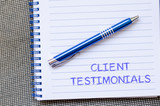 Client testimonials write on notebook
