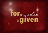 Christmas Bible verse on dark red background with bokeh lighting and star