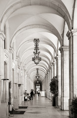 Arcades at commerce square in Lisbon, Portugal © pink candy