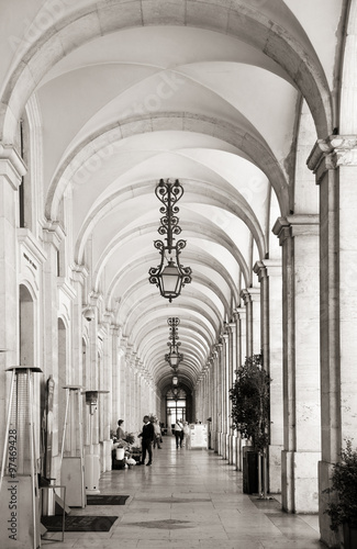 Arcades at commerce square in Lisbon, Portugal