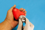 heart check up by stethoscope