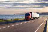 Truck on a road near the sea - Fine Art prints
