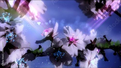 Foto op Plexiglas Draken Fairies and butterflies around enchanted flowers