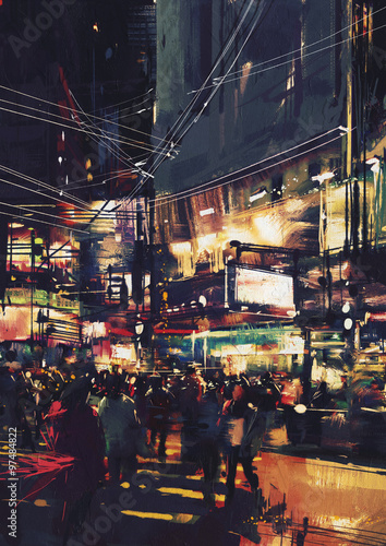 Foto op Canvas Mediterraans Europa crowds of people at a busy crossing in the night with colorful lights,digital painting