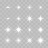 Set of Vector glowing sparkling stars