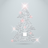 Fototapety Vector concept circuit board Christmas tree