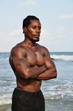 Shirtless african bodybuilder