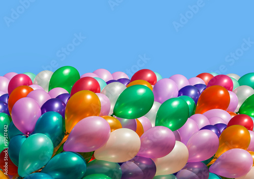 Multi-colored balloons isolated on white © misu