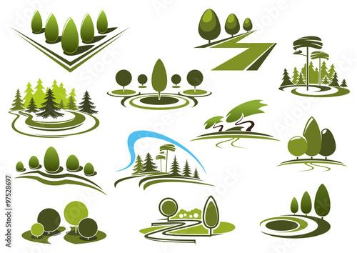 Papiers peints Blanc Green park, garden and forest landscape icons