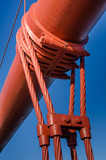 Close-up of one of the massive cables holding up the roadway of the Golden Gate Bridge in San Francisco - 97528863
