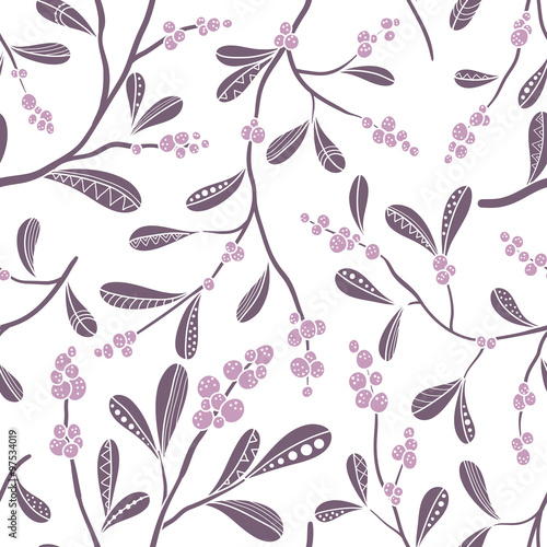 Cotton fabric Christmas seamless pattern with mistletoe