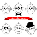Monkey, chimp face, icons, logo. Vector illustration