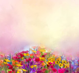 Fototapety Abstract art oil painting of summer-spring flowers. Cornflower, daisy flower in fields. Meadow landscape with wildflower, Yellow-red Sky color background. Hand Paint floral Impressionist style