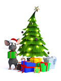 Cartoon mouse with Christmas gifts.