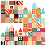 Set of seamless vector backgrounds with with houses