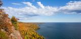 Fototapety Panorama of Colorful Lake Superior Shoreline with Dramatic Sky