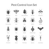 Fototapety Vector set of icons with insects for pest control business