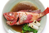 simmered kinki rockfish with sweetened soy sauce, japanese cuisine