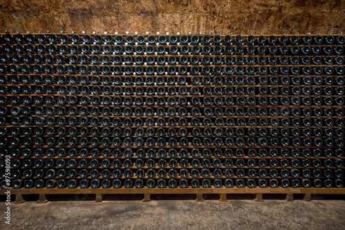 Long underground brick tunnel in the wine cellar