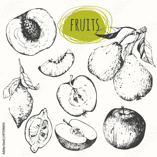 Set of hand drawn apple, lemon, pear, peach. Sketch fruits.
