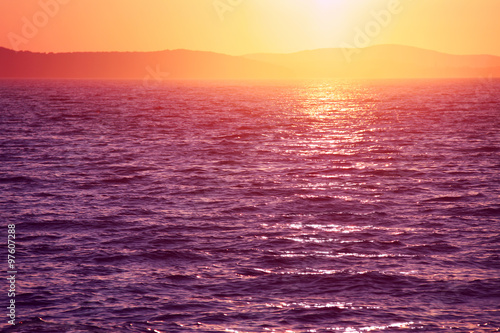 Beautiful vivid sunset in Zadar, Croatia.