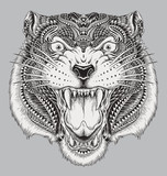 Detailed Hand Drawn Abstract Tiger
