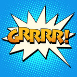 Growling grrrr comic bubble retro text