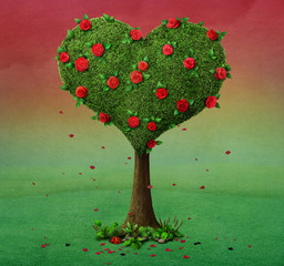 Fairy tale illustration with  flowering tree in  shape of  heart