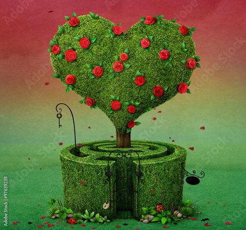 Fairy tale illustration with flowering tree in shape of heart and labyrinth © annamei