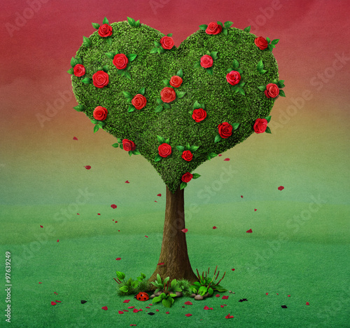 Fairy tale illustration with flowering tree in shape of heart © annamei
