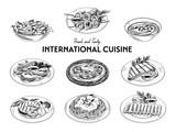 Fototapety Vector hand drawn sketch international cuisine set.