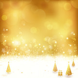 Golden Christmas background with Christmas trees and present