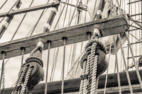 Blocks and rigging of an old sailboat