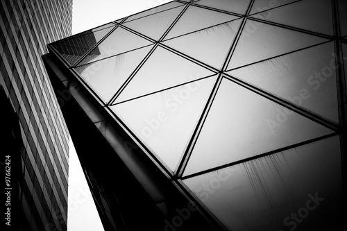 Poster Hong Kong Commercial buildings tune in Black and White